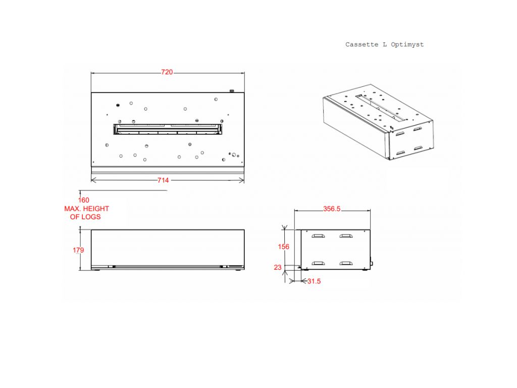 Dimplex Opti-myst Cassette L Pebbles elektrische haard